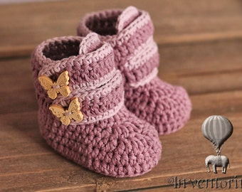 "Crochet Pattern, Baby Booties Crochet Boots ""Butterfly Boots"" Girls crochet pattern for booties PATTERN ONLY"