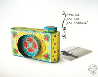 Printed Papercraft DIY Paper Camera Photo Frame | Colorful Yellow | Office or Home Desk Accessory | Pre-cut, Pre-creased Photographer Gift