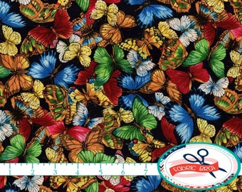 COLORFUL BUTTERFLY Fabric by the Yard, Fat Quarter BUTTERFLIES Fabric Black Fabric Quilting Fabric Apparel Fabric 100% Cotton Fabric t3-15