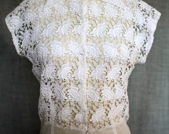 1950s Sheer White Cotton Lace Blouse