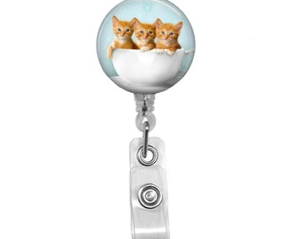 """Kittens in a Cup Badge Holder, 32"""" Retractable ID Badge Reel, Swivel SPRING CLIP, Name Badge Holder, Decorated Badge Holder,Cute Nurse Badge"""