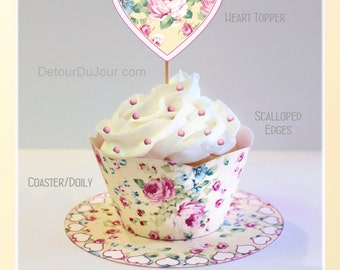 Shabby Chic Printable Cupcake Wrappers, Yellow Cupcake Wraps, Floral Cupcake Wrappers