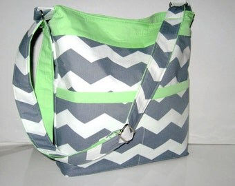 GRAY CHEVRON TOTE With Mint Green Accent, Cross Body Chevron Tote, Chevron Purse, Chevron Handbag, Adjustable Strap, Made To Order