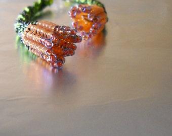 Bead weaving earrings - dangle earrings - trumpet flowers earrings - green , orange , pomegranate