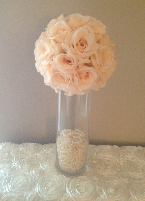 Peach Blush flower ball WEDDING CENTERPIECE peach blush