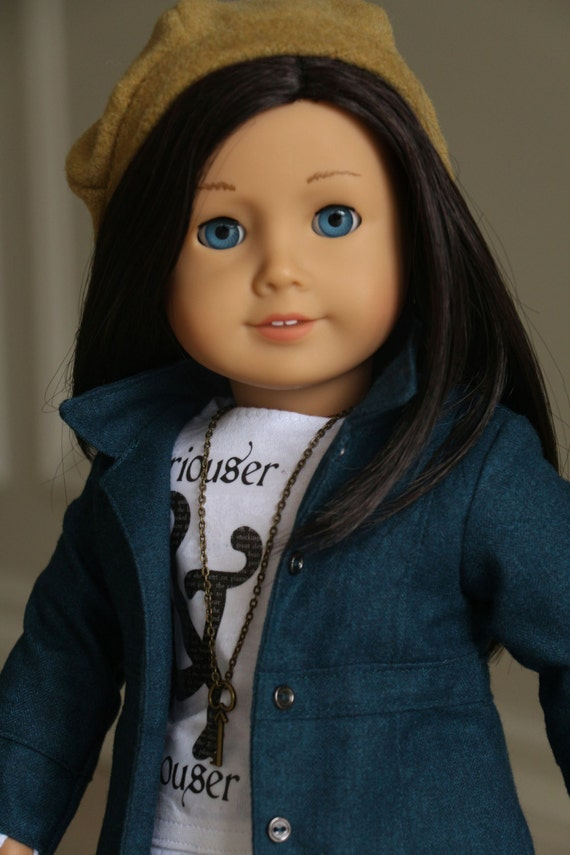 """American Girl Doll Clothes, Fits 18 """" Dolls,  """"Just a Touch of Alice""""  Teal Jacket, White Graphic T, Black Cords, Mustard Hat, Key Pendant"""