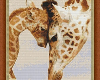 Mothers Love Giraffes Counted Cross Stitch Pattern (11.93 x 14.29 in or 30.30 x 36.29 cm) download printable pdf file (7149)