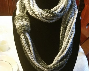 Charcoal and Light Gray Infinity Scarf