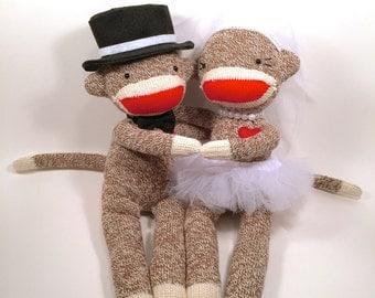 Wedding Sock Monkey Dolls, Personalized Wedding Gift, Sock Monkey Wedding, Mr and Mrs, Gift for Groom from Bride, Bride Groom Cake Topper