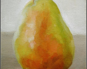Example Only, Pear, 5x7 Oil Painting, Fruit, Still Life, Handmade, Green
