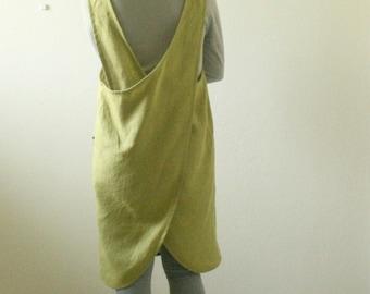 LINEN PINAFORE DRESS / women / mustard / smock / linen dress / apron / full / uniform / cafe / australia / linen clothing / pamelatang