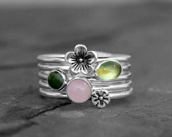 Cherry Blossom Stacking Rings, Sterling Silver, Flower & Gemstone, Spring Floral, Rose Quartz Green Jade Peridot Cabochons, Stack, Stackable