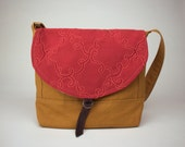 Field Bag in Sienna Brown and embossed Red