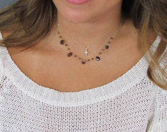 TINY CZ Cross necklace, Cubic Zirconia Cross Charm Necklace,  Gold, Rose Gold or Sterling Silver