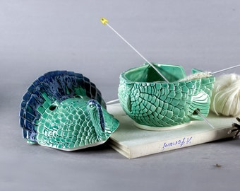 Bird Yarn Bowl with Lid, 2 piece Ceramic Knitting Bowl, gift for Mom, Turkey mint green Spring crochet bowl caddy holes for big needles