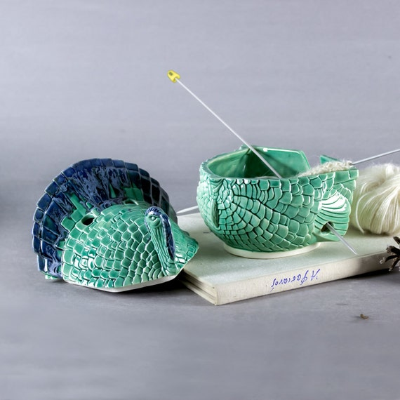 Yarn Bowl with Lid, 2 piece Knitting Bowl, Turkey Ceramic mint green supplies storage caddy holes for big needles