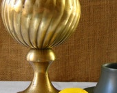 VINTAGE BRASS SPHERE Finial Home Accent Cast Brass Sphere Heavy Brass Sphere Cool Atomic Decor Retro Sphere