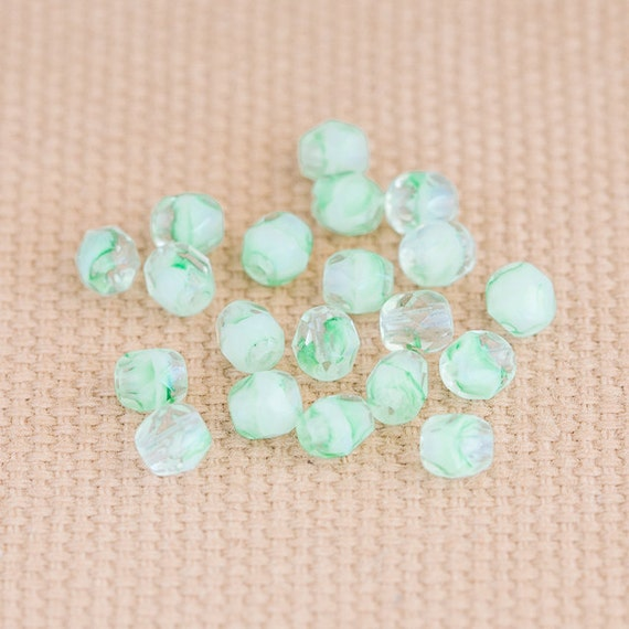 ON SALE 50% Off - Hurricane Spacers, Fire Polished Czech Glass Faceted Rounds - Iced Mint Green, White, Crystal Clear (4mm) x 10