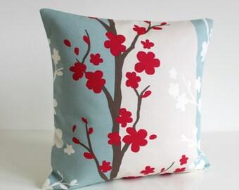 18x18 Pillow Cover, Pillow Sham, Throw Pillow, Toss Pillow Cover, Decorative Pillow, 18 Inch Cushion Cover, Pillow Case - Nordic Blossom Red
