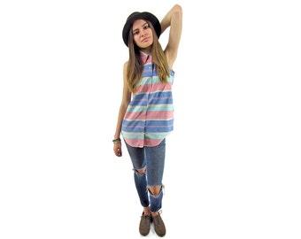 Vintage 90s Denim Top, Striped Shirt, Minimalist Top, Collared Button Up, Sleeveless Shirt, Pastel Denim Shirt Δ size: xs / sm