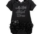 My Little Black Dress on Black Bodysuit with Black Tutu Ruffles FREE SHIPPING baby shower, baby outfit for wedding, baby girls clothing
