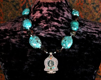 Ganesh Gau Pendant Necklace, Turquoise Statement Necklace, Tibetan, Elephant Pendant, Ethnic Jewelry, Faceted Garnet, Ancient Jewelry