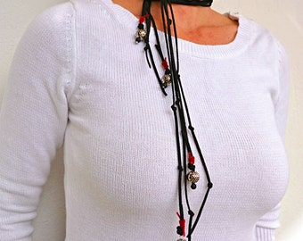 Bold Necklace, Southwestern Jewelry, Suede Soft Necklace, Tibetan Inspired, Black Leather Lariat Necklace
