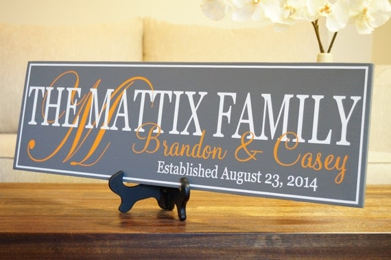 Established Family Name Sign Anniversary Gift Custom Welcome Wall Sign 22 x 7