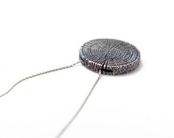 Wood Slice Pendant - Minimalist Jewelry - Sterling Silver - Forestry