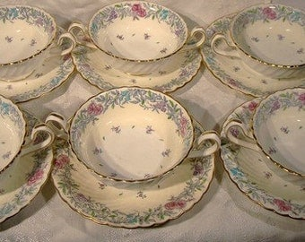 6 Minton Printemps 5370 Bouillon Soup Bowls and Saucers Handles