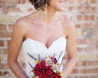 Rustic Wedding / Country Wedding /  Fall Wedding / Silk Bridal Bouquet / Maid of Honor / 2 Boutonnieres / 4 pcs / Silk Wedding Flowers