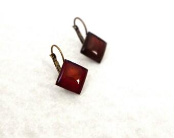 Deep red square earrings / Sangria resin earrings / Summer earrings / Lightweight crimson earrings / Sweet gift for her / FREE SHIPPING