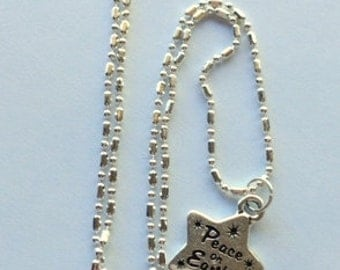 Silver Peace on Earth Star Charm Necklace - Choice of Sterling Silver Necklaces
