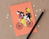Postcard Couple on Bike sweet illustration of a couple riding a bicycle - In white, black, peach and lime yellow. valentines or newlyweds