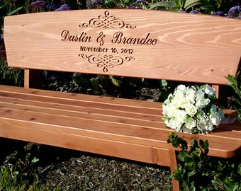 Wedding Bench, Custom Engraved Redwood Bench Cedar Stain - for Bride and Groom