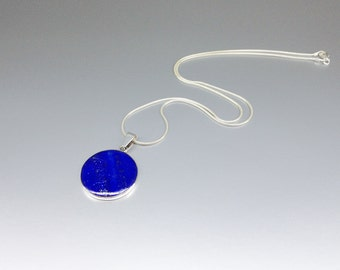Round pendant necklace Lapis Lazuli and Sterling silver perfect blue stone pendant for him or her - gift idea