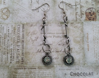 Industrial Chic Found Object, Steampunk Earrings with Rhinestones and Hammered Metal on Pewter Wrapped Wires-Hang 2.5 Inches