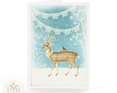 Deer, reindeer Christmas card, snow scene with lace bunting, holiday card in blue and white