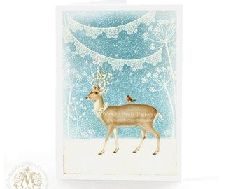 Deer Christmas holiday card in blue and white with snow and bunting, blank inside