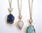 Druzy pendant blue rough cut drusy necklace gold filled chain