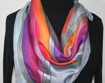 Silk Scarf Hand Painted Silk Shawl Grey Purple Pink Hand Dyed Silk Scarf WINTER FLAMES-1 Square 35x35 Birthday Gift Scarf Gift-Wrapped Scarf