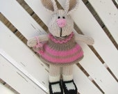 Easter Bunny Rabbit Toy - Hand Knit Stuff Bunny - Plush Doll - Gifts for Kids - Kids Toy Plush - Child Gift - Child Toy Plush Doll Riley