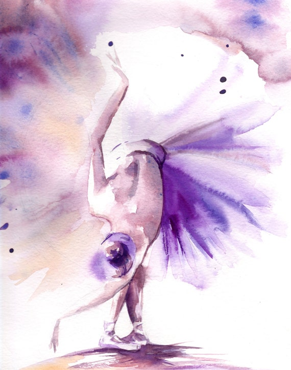 Ballerina Watercolor Print Watercolor Painting By