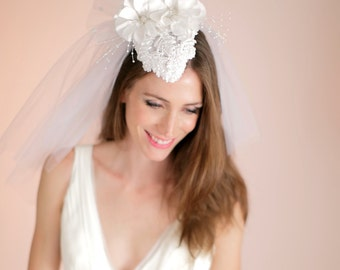 Beaded Wedding Headpiece with Veil. Wedding Bridal Cap, Bridal Hat and Veiling, Bridal Headpiece,  Style No. 4110
