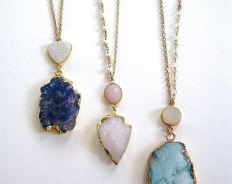 Druzy pendant blue rough cut drusy necklace gold filled chain