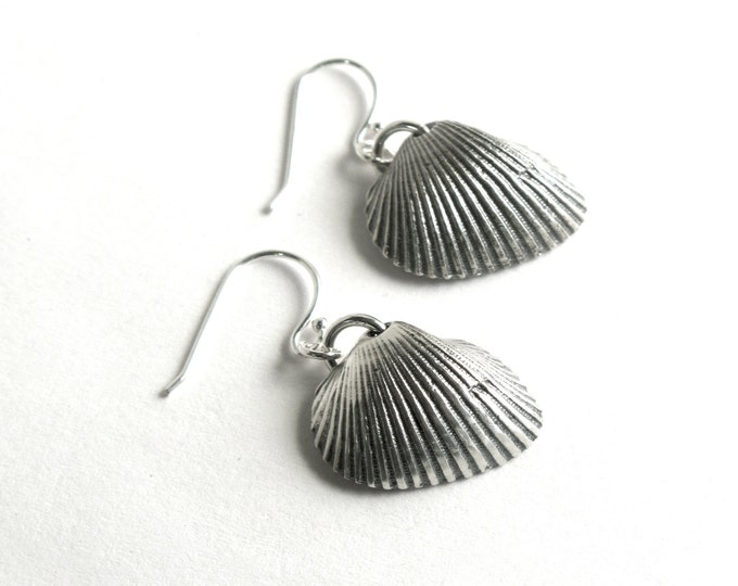 Antiqued 925 Sterling Silver Lost Wax Cast Transverse Ark Shells, Your choice of Sterling Silver or Hypoallergenic Stainless Steel Ear Wires