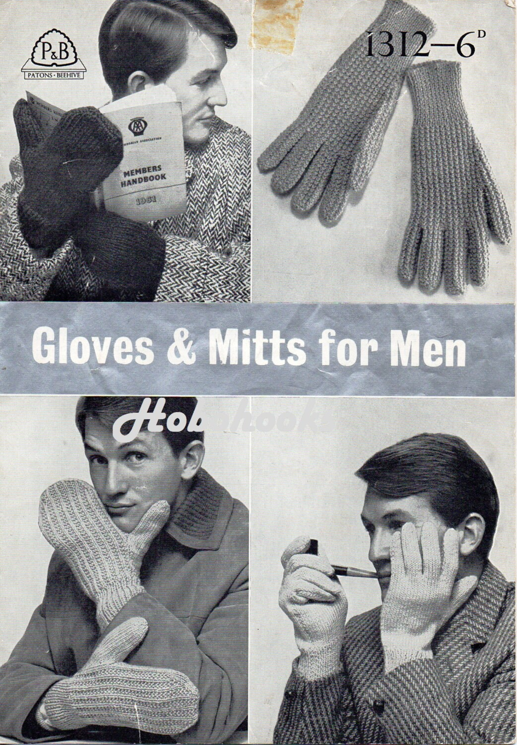 Vintage Mens Gloves knitting Patterns PDF 1950s Mens Mitts