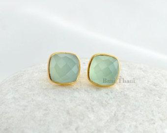 Gemstone Earring, Silver Stud Earring, Aqua Chalcedony Cushion 9mm Micron Gold Plated 925 Sterling Silver Stud Earrings - #1596