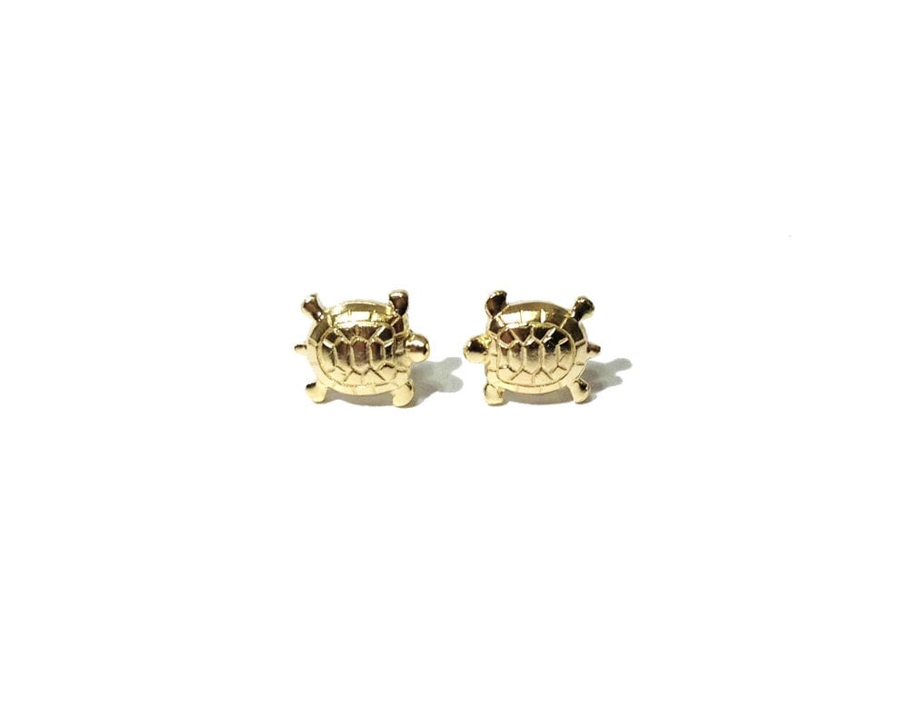 turtle studs turtle earrings tiny gold brass turtle studs