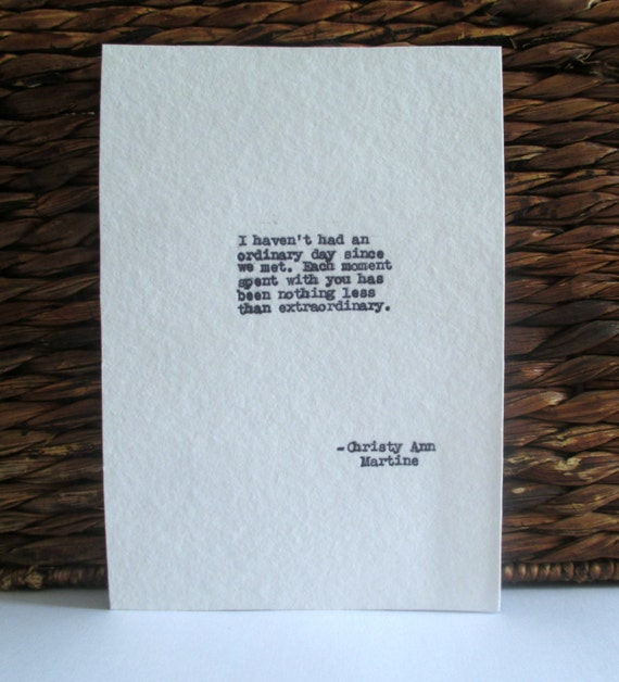 Boyfriend Gift - Romantic Love Quote Typed on Cotton or Cardstock - Cotton Anniversary Gift for Him or Her